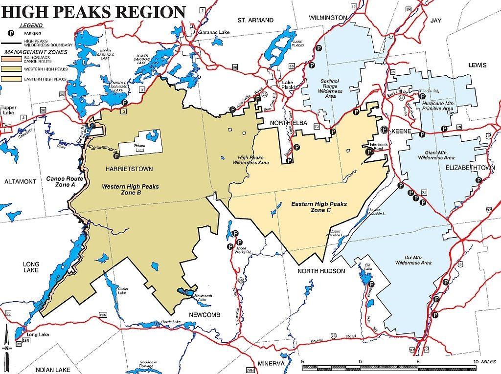 High Peaks Wilderness Management Zones - Map